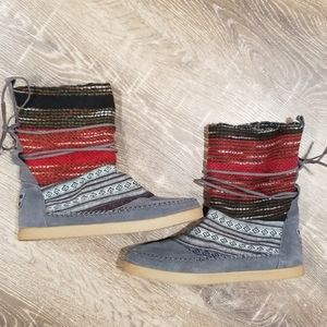 Toms Nepal gray suede fur linned slouchy boots 8.5